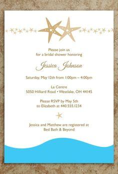 Beach Bridal Shower Invitation, 2014 starfish beach wedding invitations #beach #wedding #invitation www.loveitsomuch.com