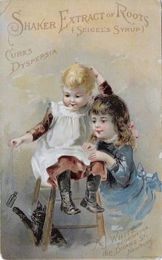 ANTIQUE ADV TRADE CARD ~ SEIGEL'S SYRUP, BABY BOOTS TEASES CAT, KITTEN, c1883 #SEIGELSSYRUP