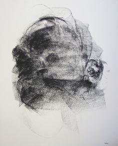 "Gestural Portrait - 14 x17"", fine art - Drawing 113 - charcoal on paper - original drawing by Derek Overfield"