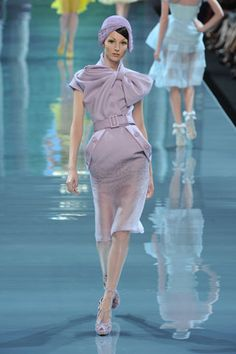 Christian Dior | Fall 2008 Couture Collection | Anna Kuchkina Modeling | Style.com lavender bow suit roaring 20s 1920s Gatsby 2013 cloche pencil purple