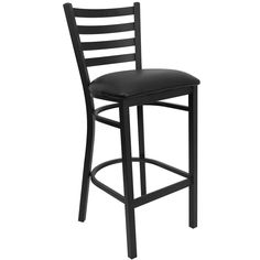 Black Ladder Back Metal Restaurant Barstool - Black Vinyl Seat