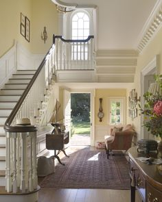 Lovely Foyer w/Wide Entry Halls -- True Southern Home, like the stairs Georgian Interiors, Georgian Homes, House Interiors, Foyer Decorating, Entry Hall, Architectural Digest, Architectural Features, Traditional House, My Dream Home