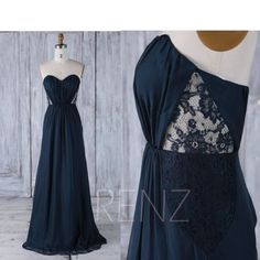 2017 Navy Chiffon Bridesmaid Dress See Through Lace Wedding