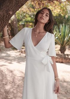 Western Wedding Dresses, Princess Wedding Dresses, Bridal Dresses, White Wrap Dress, Tennis Fashion, Casual Summer Dresses, Tie Dress, Designer Dresses, Marie