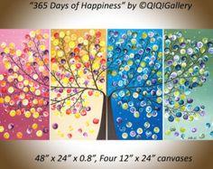 Kunst schilderij Abstract Acryl schilderij Impasto door QiQiGallery