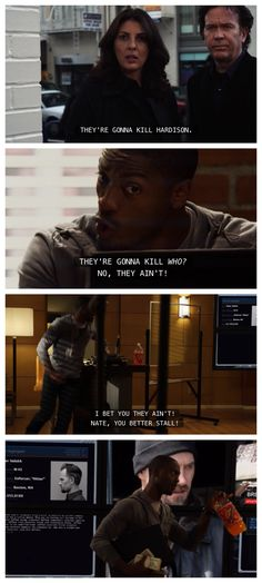 """""""No they ain't!"""" I love that when Hardison is trying to get away he grabs his money and his orange soda! now that's having your priorities straight :)"""