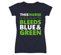 Lady's This Nurse Bleeds Blue and Green Seahawks T-Shirt