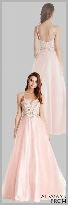 Full Length A-Line Prom and Evening Gown has Sparkling Gemstones and Beading Embellished Bodice with Sweetheart Neckline, Beaded Straps and Low Back with Zipper Closure. Layered Long Skirt Completes the Style. #longpromdress #eleganteveningdresses #onlinestorealwaysprom #dressbyalwaysprom