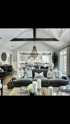 Love All The Gray White Tones In Space That Make It Cozy Beam And Light Fixture Too Also Kitchen T