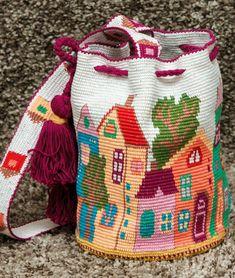 for sister Mochila bag wayuu technique Southwestern pattern Boho crochet crossbody Hippie bucket Knitten gypsy shoulder bag Bohemian purse Custom Tote Bags, Tote Bags Handmade, Tapestry Bag, Tapestry Crochet, Mochila Crochet, Fabric Handbags, Hand Crochet, Crochet Patterns, Knitting
