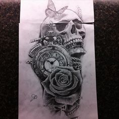 #setsailtattooparlor #art #tattoo #design #drawing #sketch #skull #clock #rose #realism #butterfly #pencil #ink