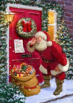 Vintage Christmas Father Christmas, Christmas Past, Christmas Is Coming, Christmas Wreaths, Christmas Things, How To Celebrate Hanukkah, Vintage Christmas Cards, Holiday Cards, Christmas Graphics