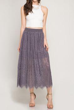 Lace Midi Skirt With Elastic Waistline