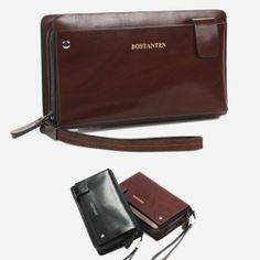 Mens leather clutch bag Men pouch bag Wallet Purse Black Brown CHANCHAN 20102