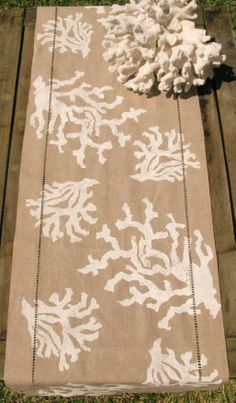 White Coral on Natural Linen Runner: Beach Decor, Coastal Home Decor, Nautical Decor, Tropical Island Decor & Beach Cottage Furnishings Beach Cottage Decor, Coastal Decor, Coastal Living, Coastal Interior, Nautical Home, Beach Crafts, Beach Themes, Beach Decorations, Tropical Decor