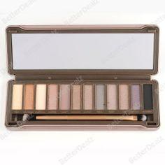 12 Farben Augen Make up warm nude Lidschatten Palette Eyeshadow Tin mit Pinsel