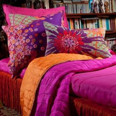 Fun colorful Boho bedding and accents