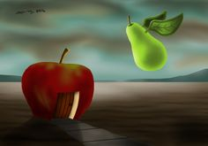 A cute dream like scene of a fruit friend visiting