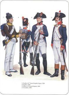 Napoleon's Line Infantry 1-Fusilier, 61th Demi-Brigade, Egypt 1799 2-Fusilier, 1800 3-Officier, 15e Demi-Brigade, 1800 4-Grenadier 1800