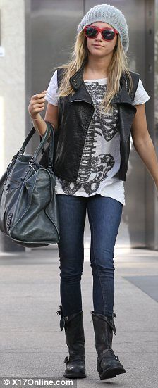 shopping outfit of moto boots and vest with skinnies
