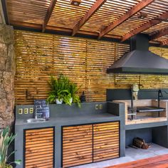 Precious Tips for Outdoor Gardens - Modern Outdoor Barbeque, Outdoor Kitchen Patio, Outdoor Kitchen Design, Outdoor Living, Barbecue Area, Bbq Grill, Backyard Pavilion, Backyard Patio Designs, Terrace Design