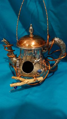 Recycled Silver Plated Teapot Birdhouse by DryDockCreations, $70.00