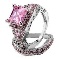 Wish | 2pcs/set 925 Sterling Silver Pink Square Sapphire Engagement Wedding Rings SZ6-10