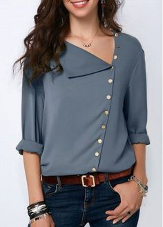 Dusty Blue Button Detail Roll Sleeve Blouse | modlily.com  USD $28.42