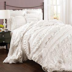 Serene white bedroom ; LOVE THIS COMFORTER!