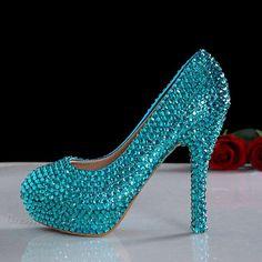 $64.09 Dresswe.com SUPPLIES Stunning  Rhinestone -Heels Blue Rhinestone Wedding Shoes