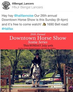 TODAY  Hay hay @halifaxnoise Our 26th annual Downtown Horse Show is this Sunday (9-4pm) and it's free to come watch!  1690 Bell road! #Halifax