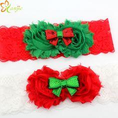 12 unids/lote Rojo y Verde Flores de La Gasa Lamentable Del Brillo de Lentejuelas