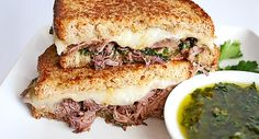 Braised Beef Chimichurri Grilled Cheese...The taste is in the name. This flavorful grilled cheese sandwich boasts braised beef, chimichurri, oregano, and Wisconsin Provolone Cheese. Yes, you can take a moment to drool.