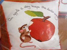 Columbia Minerva Crewel Kit  Mouse and Apple by mamiezvintage