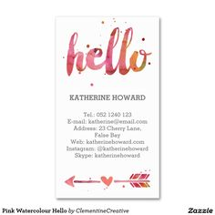 Pink Watercolour Hello Pack Of Standard Business Cards
