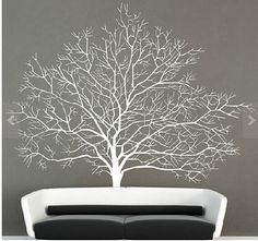 Weiß Baum Wand Aufkleber-Baum Aufkleber-Vinyl weiß Baum Aufkleber für Schlafzimmer Dekor-abnehmbare großer Baum Wandmalereien Aufkleber-Baum Wand Aufkleber Wand