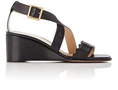 CHLOÉ Scallop-Detailed Wedge Sandals. #chloé #shoes #pumps