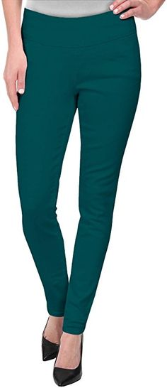 Super Comfy Stretch Pull On Millenium Pants KP44972 Teal S at Amazon Women's Clothing store Cara Dune, Muscular Legs, Twill Pants, Pull On Pants, Grey Pants, Playing Dress Up, Workout Pants, Slacks, Casual Pants