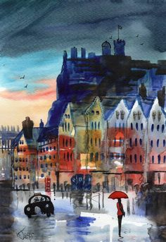 Original Signed Watercolour Painting ~ Edinburgh Grassmarket ~ By KJ CARR