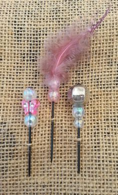 Light Pink Feathers and Beads Push Pin Set by GrlFridayProductions, $5.00
