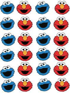 Elmo and Cookie Monster, Cupcake / Fairy Cake Wafer Paper Toppers x 24 Elmo Cookies, Cookie Monster Cupcakes, Elmo Cake, Elmo And Cookie Monster, Super Cookies, Elmo Wallpaper, Cute Disney Wallpaper, Sesame Street Party, Sesame Street Birthday