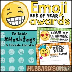 Editable End of the Year Awards that include 39 different unique emojis and 22 miscellaneous and academic awards with editable hashtags. The hashtags are editable for the teacher to change to fit each student in a special way. There are various options to the certificates: - Full Sheet - Half Sheet - Color - Black and White - PDF Editable Version - PowerPoint Editable Verstion