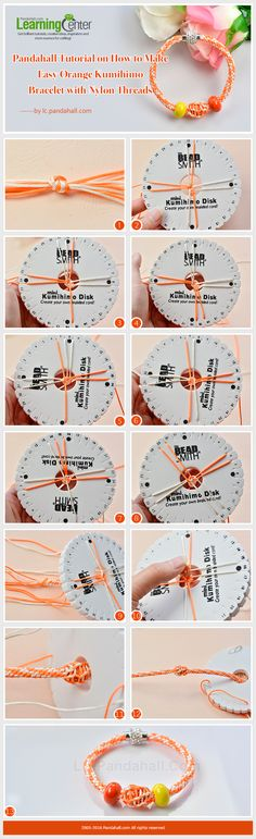 Pandahall Tutorial on How to Make Easy Orange Kumihimo Bracelet with Nylon Threads from LC.Pandahall.com