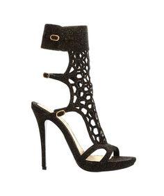Alexander Mcqueen - Glitter Honeycomb Mid-Heel Strappy Sandal - http://womenspin.com/shoes/alexander-mcqueen-glitter-honeycomb-mid-heel-strappy-sandal/