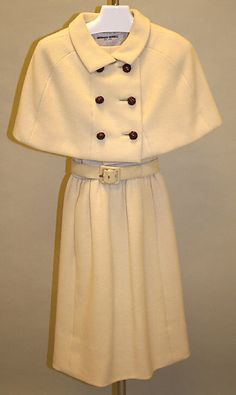 Ivory wool belted dress (with matching capelet), by Norman Norell, American, early 1960s.