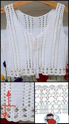 Crochet Stitches Chart, Crochet Yoke, Crochet Bikini Pattern, Crochet Skirts, Crochet Jacket, Crochet Diagram, Crochet Blouse, Crochet Clothes, Crochet Patterns