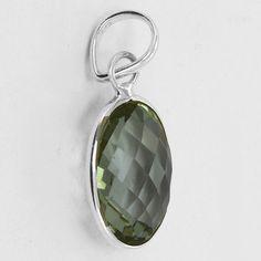 Classic Design Pendant Green Amethyst Gemstone by DevmuktiJewels