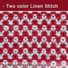 Two color Linen Stitch. Free Knitting Pattern includes written instructions and video tutorial.