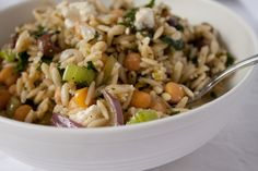 Minted Orzo Salad with Chickpeas and Feta | Can You Stay For Dinner?