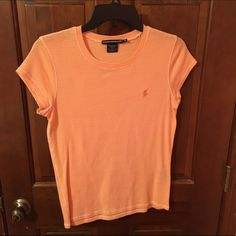 Ralph Lauren Sport Orange & White Striped T-Shirt Great condition and super comfy shirt! Barely worn, and no stains, tears or rips! Paid $30 originally at the Ralph Lauren outlet. Cheaper on Ⓜ️ercari Ralph Lauren Tops Tees - Short Sleeve